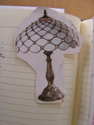Lampa autorska wykonana wg wzoru z gazety przyniesionego przez panią Małgorzatę.