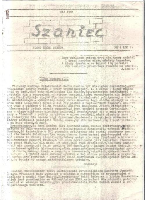 Pismo z lat 1980 - 81, redagowane przez M. Badyńskiego, M. Miszczaka, G. Wysoka i innych
