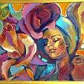 różana panienka olej 70-80 #róża #róze #kobieta #ona #malarstwo